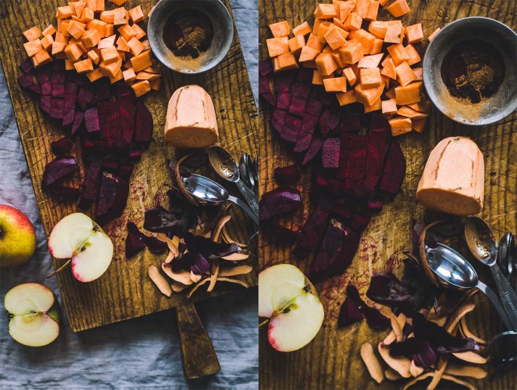 Roasted Root Veggies / Yogurt & Cranberries