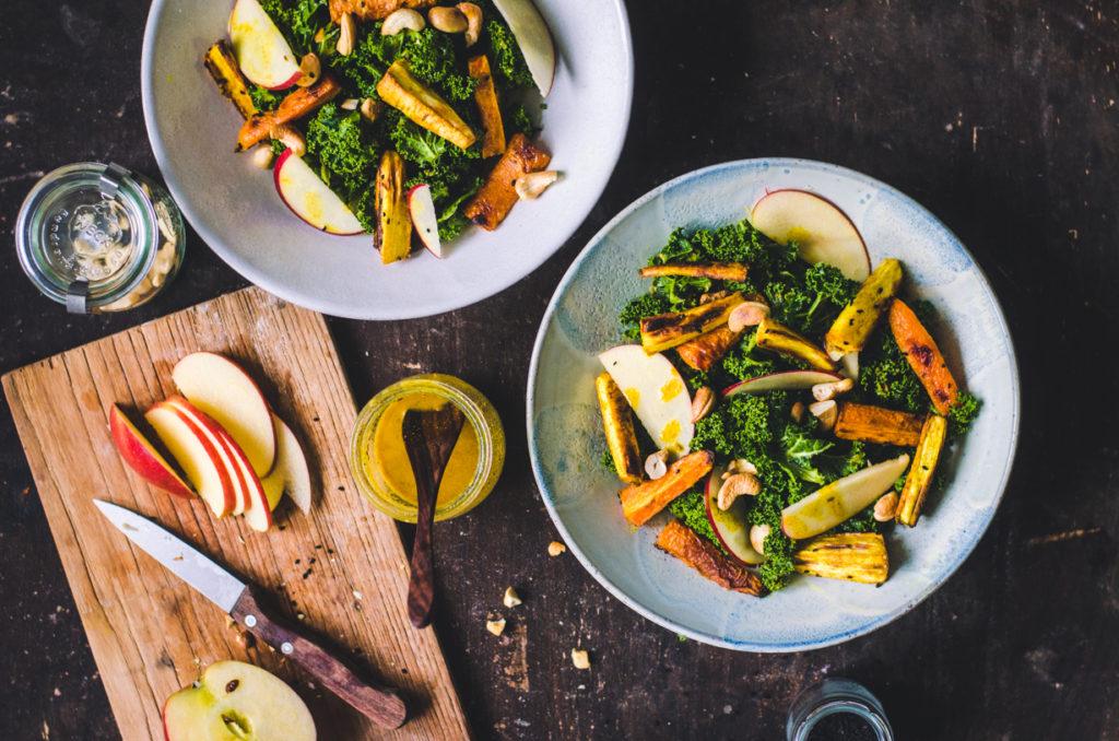 Curry Kale Salad / Parsnip & Carrot