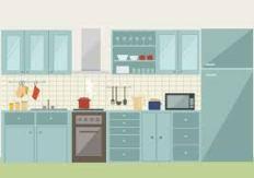 vector blauwe keuken