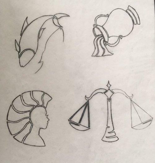 astrology zodiac wip sketch virgo libra aquarius pisces