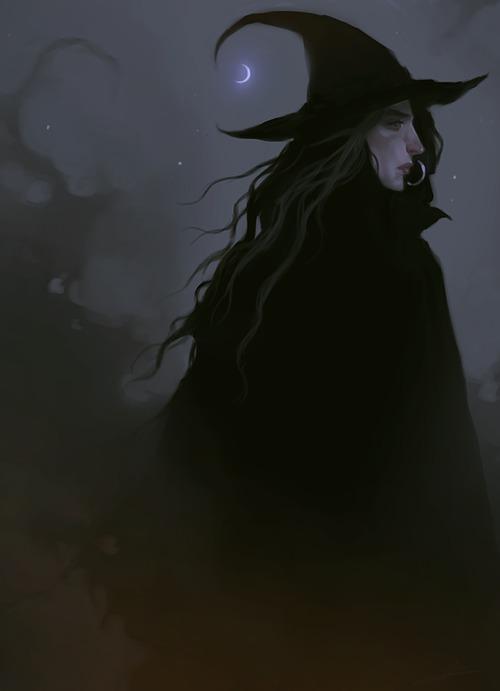 artistsontumblr art Illustration painting digitalpainting witch gothic moon dark fantasy ivemissedmyboywitches
