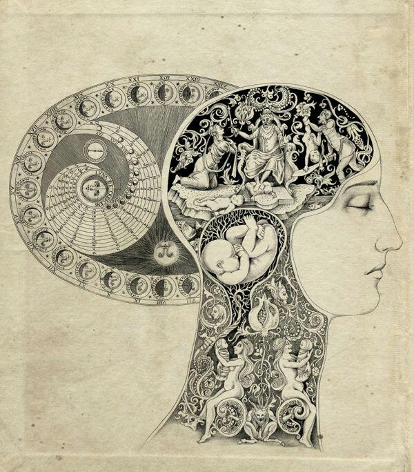 art drawing symbolism alchemy spiritual consciousness