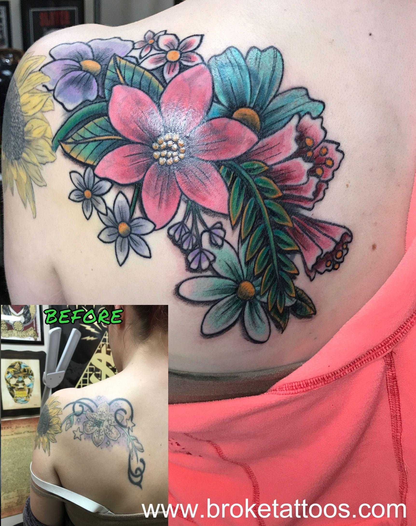 broketattoos viciousinksh ink tattoos michigantattooer coveruptattoo floral inked girlswithtattoos tattooed