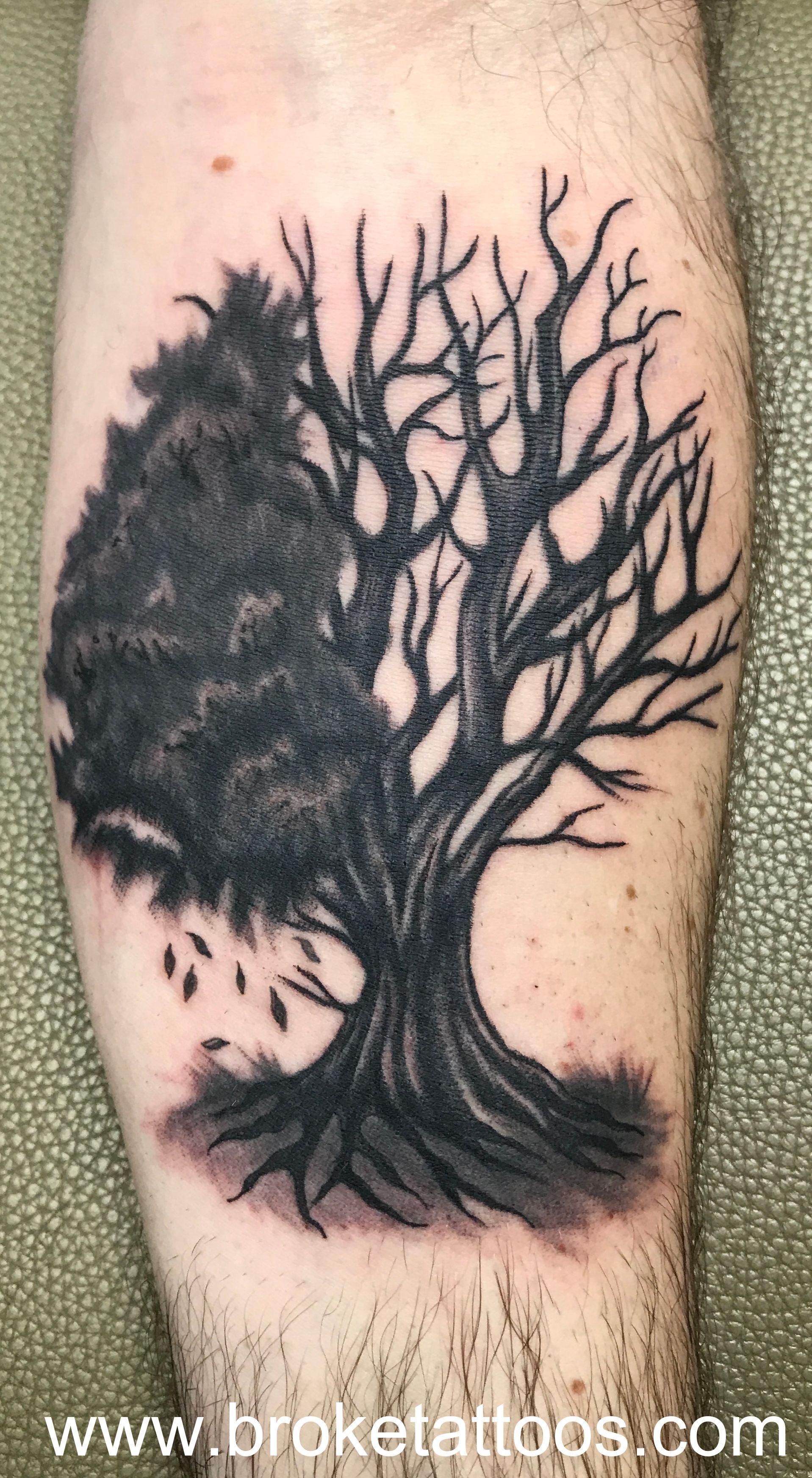 broketattoos ink viciousinksh tattoo michigantattooer tattoos inked treetattoo blackandgray