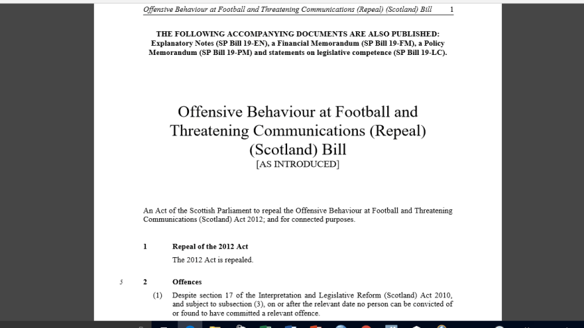 Offensive Behaviour at Football and Threatening Communication (Repeal) (Scotland) Bill