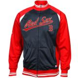 Stitches Boston Red Sox Brushed Tricot Color-Blocked Track Jacket - Navy Blue/Red