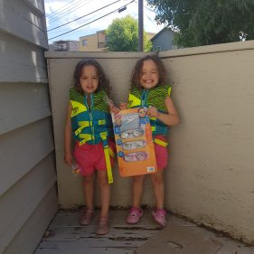 Camelia and Elina enjoying summer activities! Thanks to FANS members for the monetary donation for the twins' swimming gear