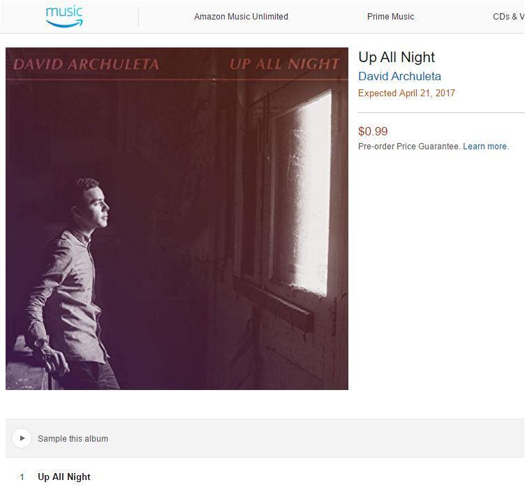 David Archuleta Amazon up all night snippet