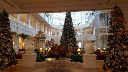 Decorations and Gingerbread House in Disney's Grand Floridian Lobby!