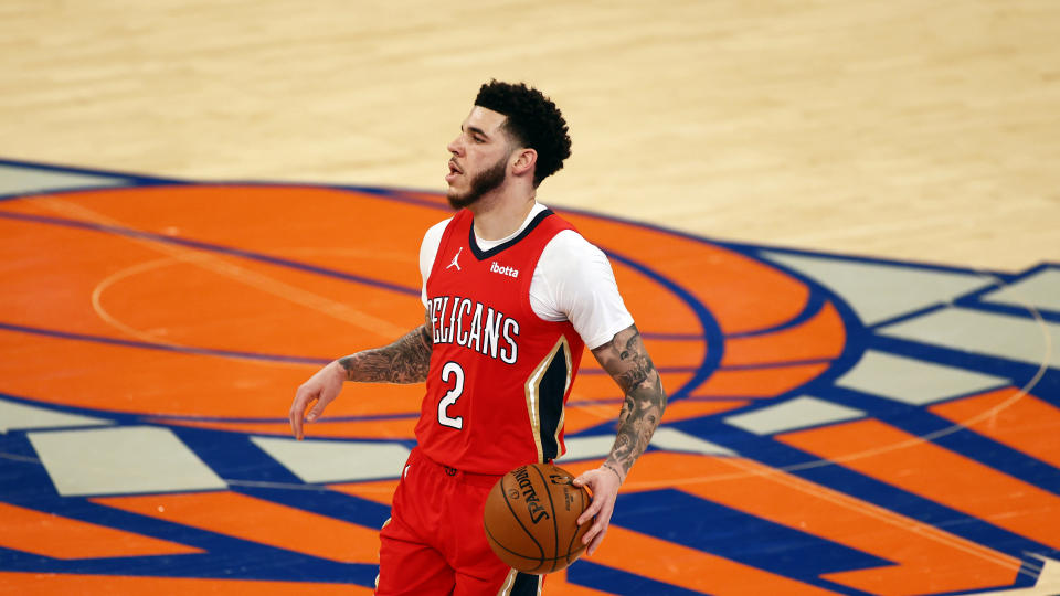 Apr 18, 2021; New York, New York, USA; New Orleans Pelicans guard Lonzo Ball (2) looks to pass against the New York Knicks during the first half at Madison Square Garden.