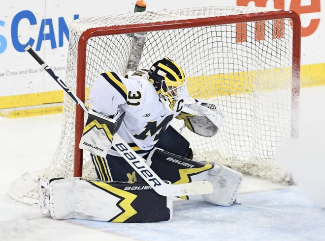 Michigan Wolverines hockey goalie Strauss Mann was the Big Ten Goaltender of the Year in 2019-20 and had another stellar season this past year.