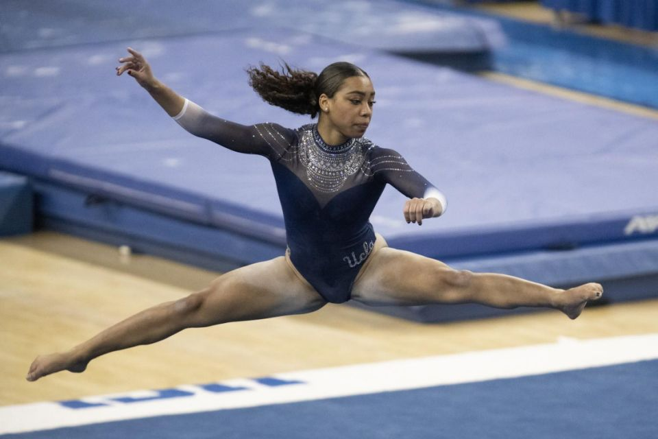 UCLA's Margzetta Frazier competes on the floor during a meet.