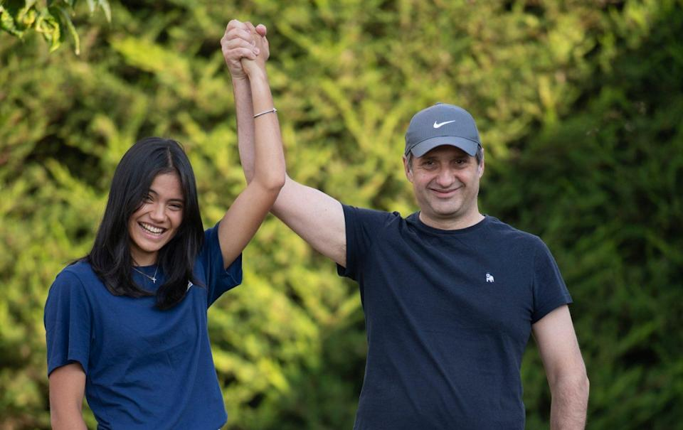 Emma Raducanu (pictured with her father Ian) returned home last week - DAVID ROSE/TELEGRAPH