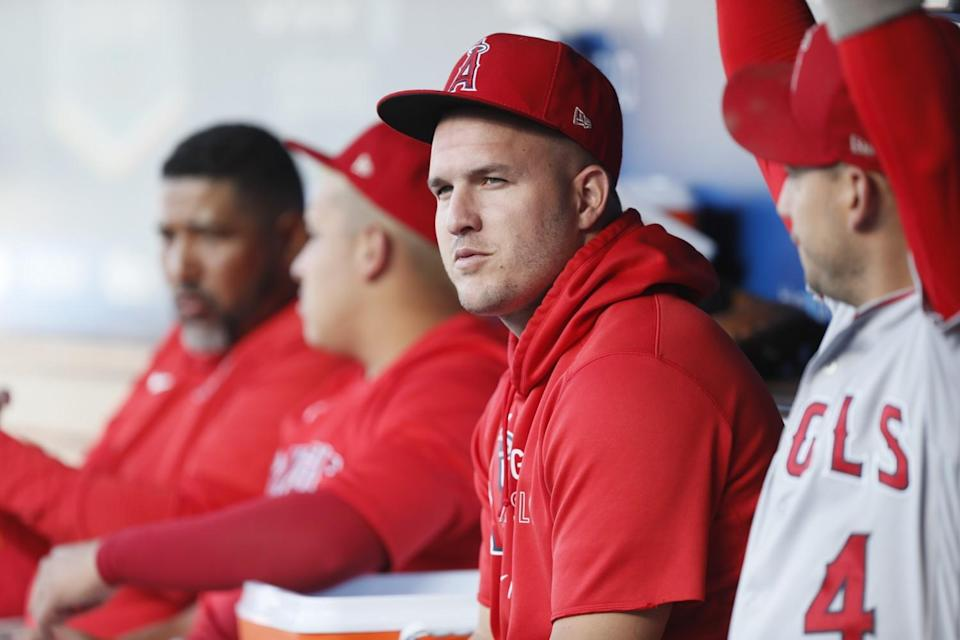 Mike Trout looks over from the dugout before a game against the Dodgers on Aug. 7.
