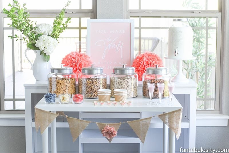 Cereal Bar Ideas: Brunch shower, bridal shower, mother's day, baby shower breakfast