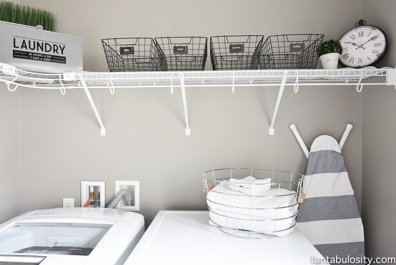 DIY Laundry Room Shelving & Storage Ideas - Fantabulosity on Laundry Decor Ideas  id=29087