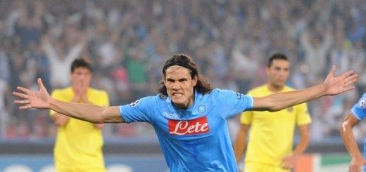 Napoli's Uruguayan forward Edinson Roberto Cavani celebrates after scoring against Villareal during their Champions League Group A football match at San Paolo stadium in Naples on September 27, 2011.        AFP PHOTO / VINCENZO PINTO (Photo credit should read VINCENZO PINTO/AFP/Getty Images)