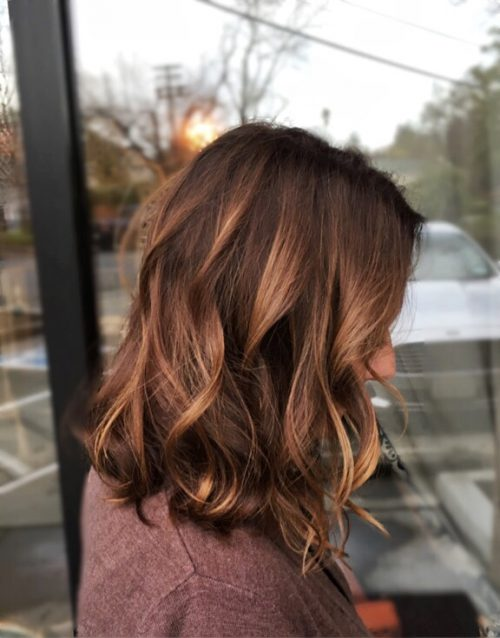 Copper-Toned Waves on Brown hair - Highlights For Dark Brown Hair