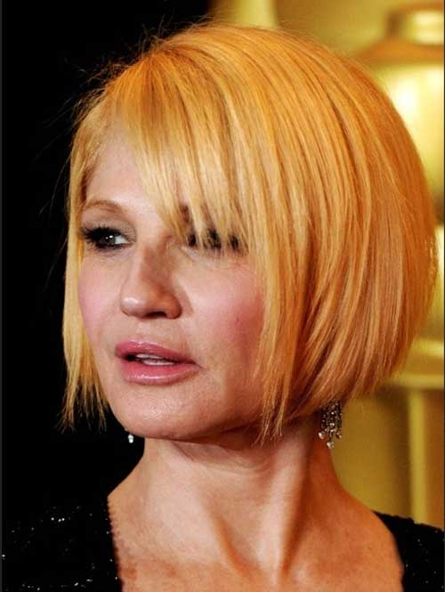 Straight blonde bobs with bangs-hairstyles for women over 50