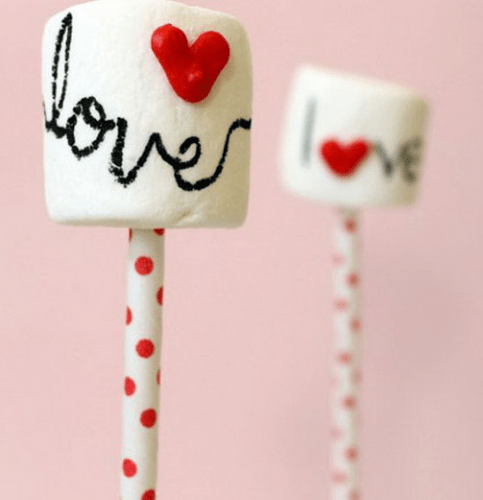 Marshmallow Pops with Heart Sprinkles - romantic diy gift ideas