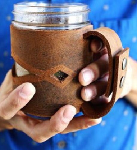 Leather Mason Jar Sleeves - romantic diy gift ideas