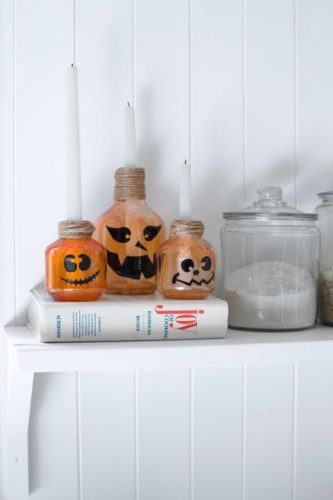 Jack o' Lantern Candlesticks - Kid-Friendly Halloween DIY Projects