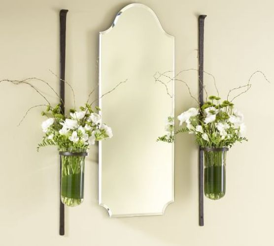 Hanging flower vases - creative gallery wall ideas