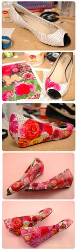 Floral Decoupage Shoes - fabulous shoe makeovers