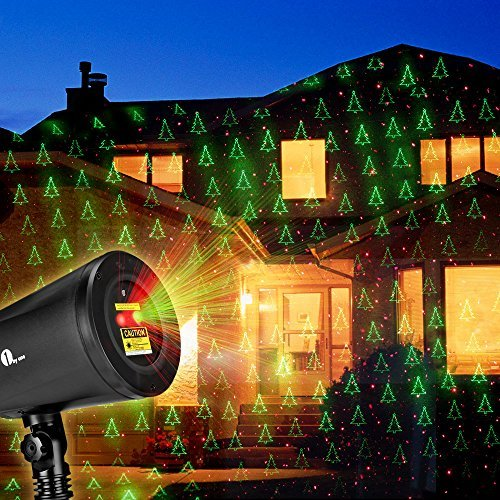 1byone Christmas Laser Lights with Green Christmas tree and Red Stars Projection Lights for Christmas, Holiday, Party, Landscaping and Garden Decoration, Indoor or Outdoor Use, Black