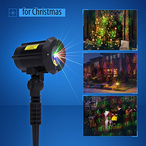 Laser Light, Christmas Laser Lights with 18 Patterns [Christmas tree, Santa Claus] LED Projector Spotlight Star Motion Shower with Xmas, Holiday, Party, Garden Decoration