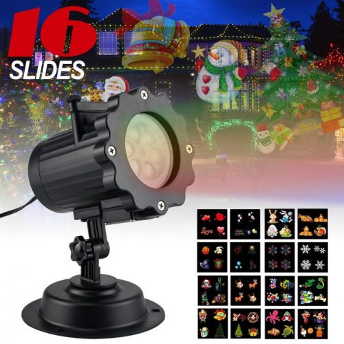 Led Christmas Light Projector with 16 Slides, Takihoo Upgrade Led Landscaping Spotlight Holiday Projector Lamp Waterproof for Xmas, Halloween, Parties, Landscape Garden Decoration Outdoor Indoor, Black