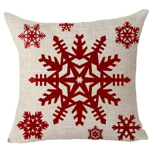 Happy winter red snowflake Cover - Christmas Pillow Covers
