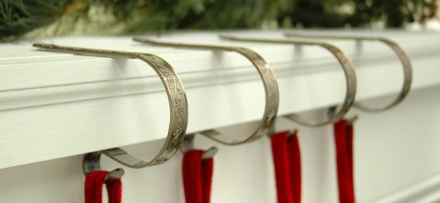 The Original MantleClip Holly Embossed - Christmas Stocking Holders