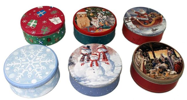 6 Pack Holiday Round 2 Lb Cookie Tins - Christmas Cookie Tins