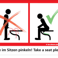 German men are encouraged to pee sitting down to promote a cleaner bathroom experience for other men.