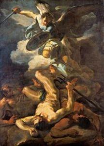 Corrado Giaquinto (Italian 1703–1756) [Baroque, Rococco] Saint Michael Defeats Satan, 1750. Pinacoteca Vaticana, Vatican City, Rome. – The Athenaeum