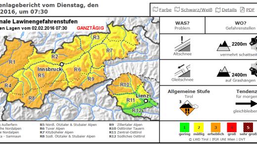 Lawine overzicht Tirol 2 febr 2016