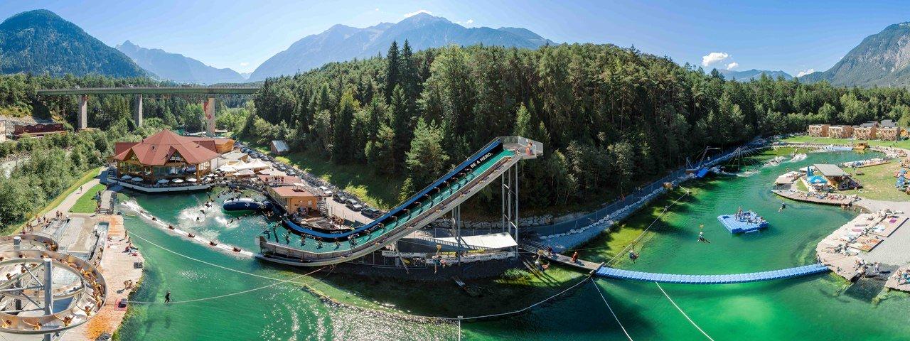 Fun in de zomer, outdoor waterpark Area 47 in het Ötztal