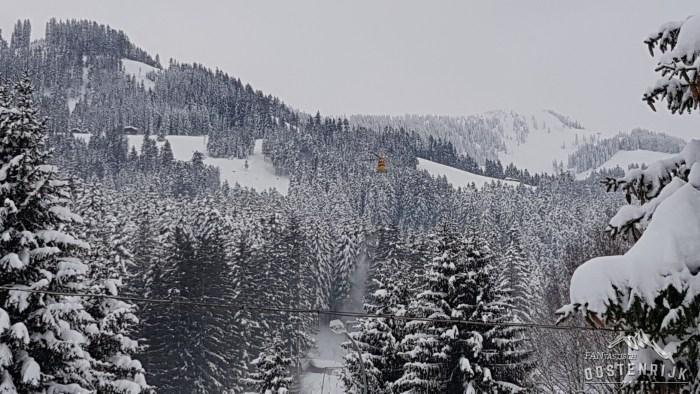 Helikopter maakt bomen vrij van sneeuw