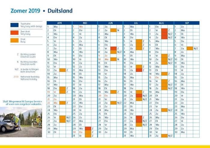 verkeersdruktekalender duitsland zomer 2019