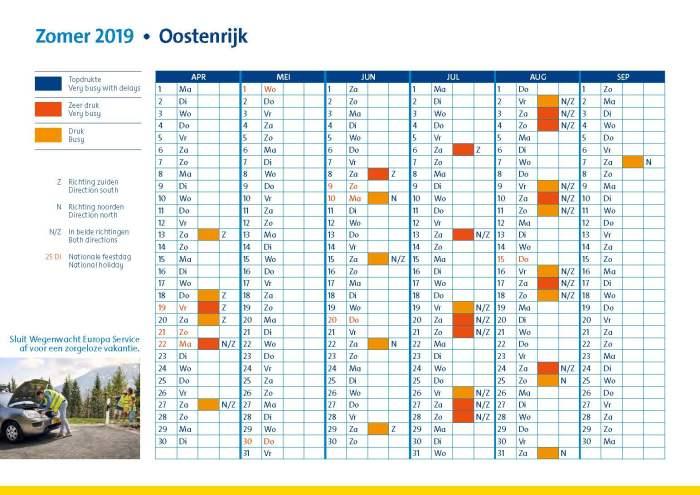 verkeersdruktekalender oostenrijk zomer 2019
