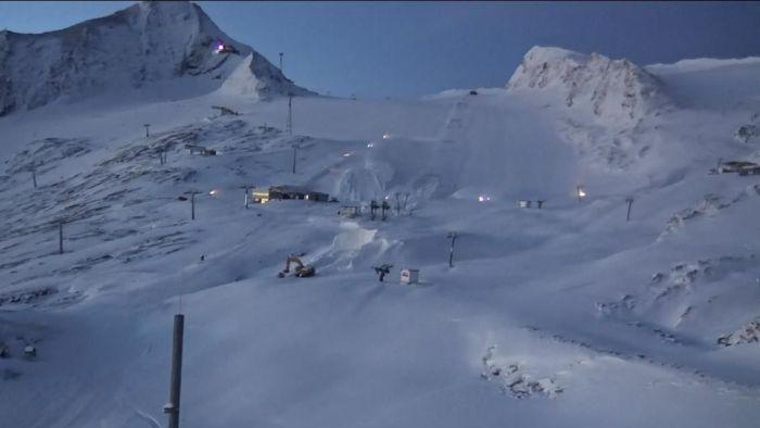 Kitzsteinhorn sneeuwkanonnen aan