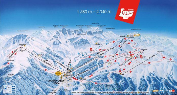 Axamer Lizum Panorama skikaart