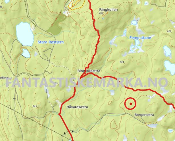 Gapahuken på Borgersæterhøgda avmerket på kart - Oslomarka - Krokskogen - Fantastiske marka