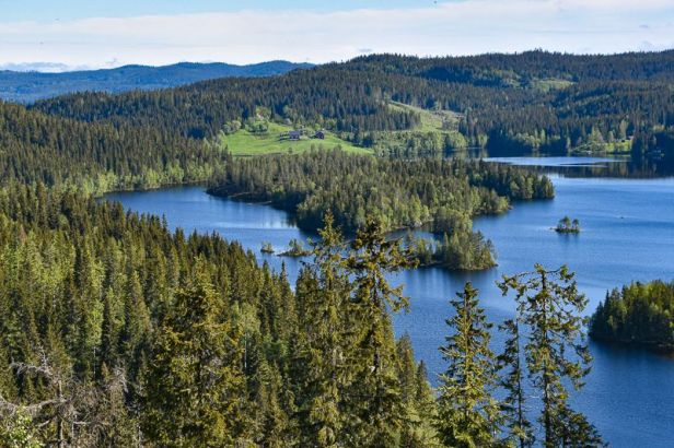 Utsikten over Nordre Heggelivann fra Kustein - Oslomarka - Krokskogen - Fantastiske marka