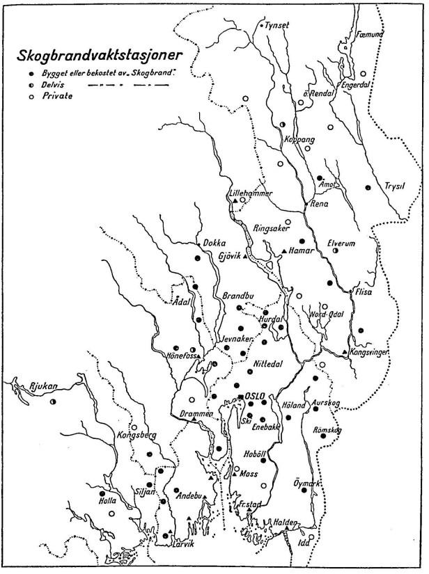 Kart over skogbrannvaktstasjoner på Østlandet fra før 1937