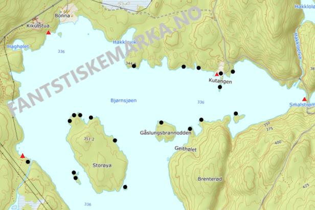Teltplasser - Hengekøyeplasser - Leirplasser - Bjørnsjøen - Nordmarka - Oslomarka - Fantastiske marka