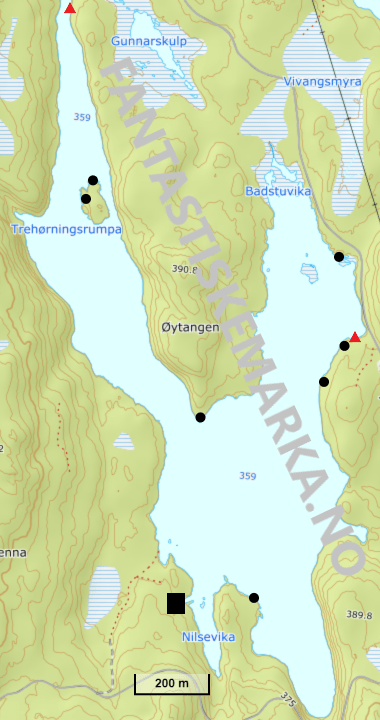 Teltplasser - Hengekøyeplasser ved Trehørningen i Nordmarka - Oslomarka - Fantastiske marka