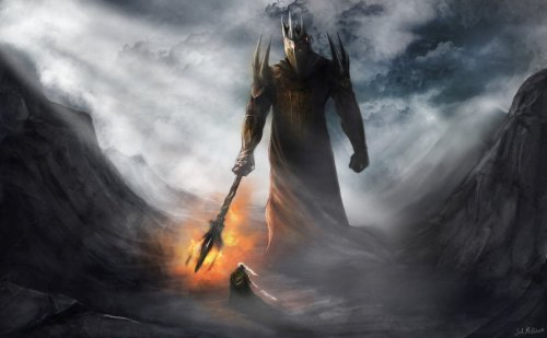 Morgoth and Fingolfin (art by JM Kilpatrick)