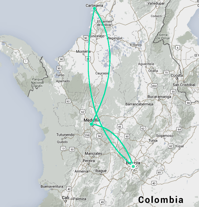 map of country of Colombia, South America, with Fantasy Aisle's Winter 2015 trip routed out